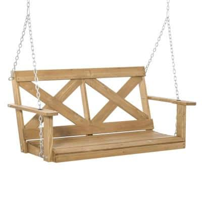 2-Person Fir Wood Porch Swing with Included Steel Chains and Rustic X-Shaped Style