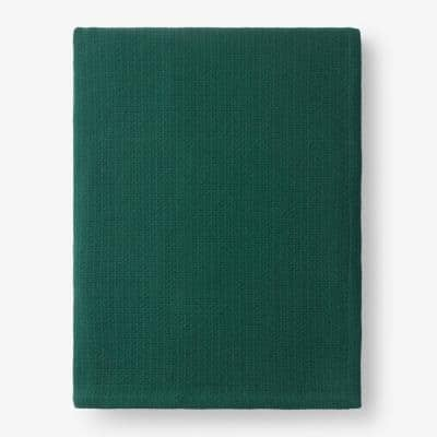 Cotton Weave Dark Green Solid Full Woven Blanket