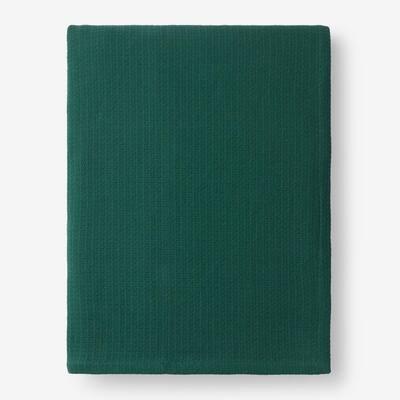 Cotton Weave Dark Green Solid Queen Woven Blanket