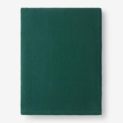 Cotton Weave Dark Green Solid Twin Woven Blanket