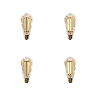 100-Watt Equivalent ST19 Dimmable LED Amber Glass Vintage Edison Light Bulb With Straight Filament Warm White (4-Pack)