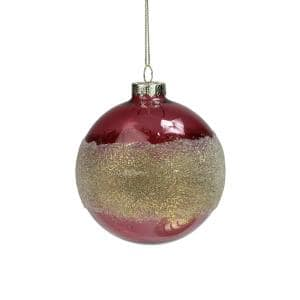 4 in. Pink and Gold Glitter Frosted Glass Ball Christmas Ornament