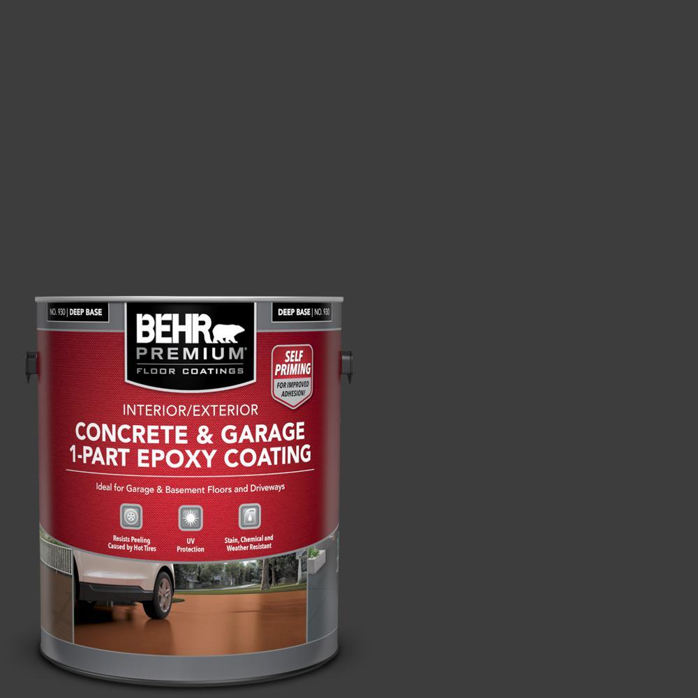 1 gal. #PPF-59 Raven Black Self-Priming 1-Part Epoxy Satin Interior/Exterior Concrete and Garage Floor Paint