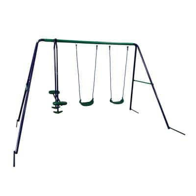 Blue and Green Child Swing with 2-Swings and 1-Glider