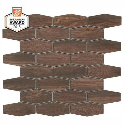 Autumn Wood Linear Hexagon 12 in. x 13-1/2 in. x 8 mm Glazed Porcelain Mosaic Floor and Wall Tile (0.97 sq. ft./Each)