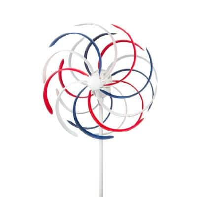 68 in. Tall Outdoor Solar Powered Patriotic Dual Windmill Spinner Stake Yard Decoration, Red, White, and Blue