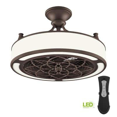 Windara 22 in. LED Indoor/Covered Outdoor Bronze Ceiling Fan with Light Kit and Remote Control