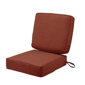 Montlake FadeSafe Water-Resistant 25 x 25 x 5 Inch (seat), 25 x 22 x 4 Inch (back) Patio Cushion Set, Heather Henna