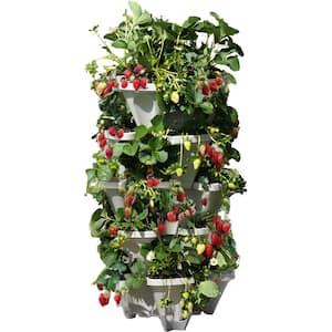 Mr. Stacky 18 in. Dia Grey Plastic Stackable Garden Planter (5-Pack)
