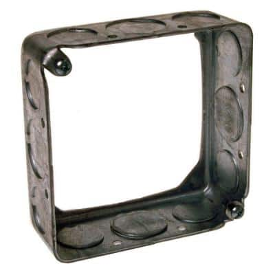 4 in. Square Drawn Extension Ring 1-1/2 in. D with 1/2 and 3/4 in. KO's