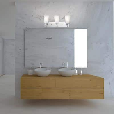 Alyssa 3-Light Chrome Vanity Light with Frosted Glass Shades