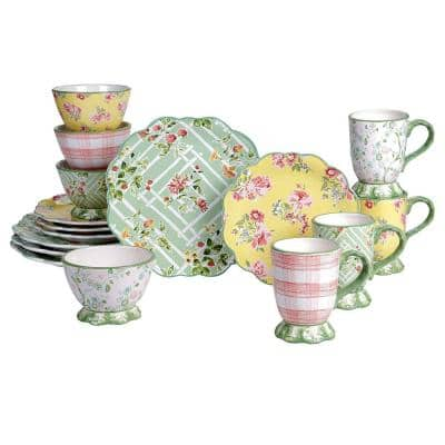 English Garden 16-Piece Seasonal Multicolored Earthenware Dinnerware Set (Service for 4)