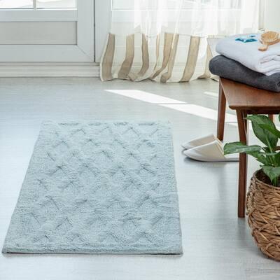 Alderbury Blue 24 in. x 60 in. Geometric Cotton Bath Mat