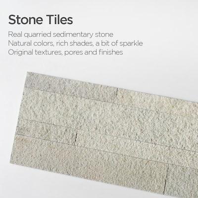 4-sheets Beige 24 in. x 6 in. Peel, Stick Self-Adhesive Decorative 3D Stone Tile Backsplash (3.87 sq.ft. / pack)