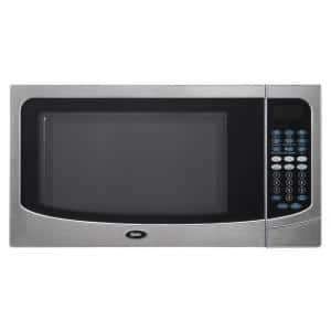 Countertop Microwave Stainless Steel Silver 1.6 cu. ft. 1000-Watt with Push Button
