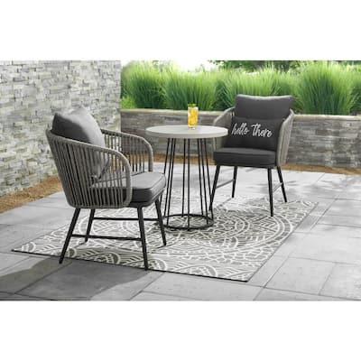 Paden 3-Piece Wicker Outdoor Patio Bistro Set with Grey Cushion