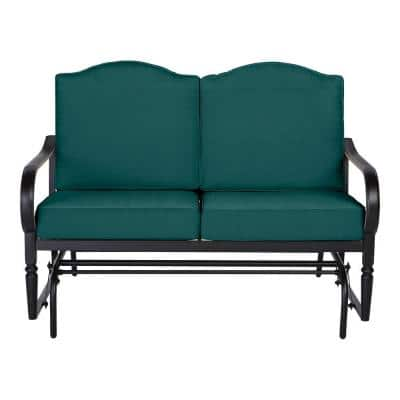 Laurel Oaks Dark Brown Steel Outdoor Patio Glider with CushionGuard Malachite Green Cushions