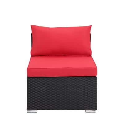 2-Piece PE Resin Wicker Armless Patio Sofa with Red Cushions