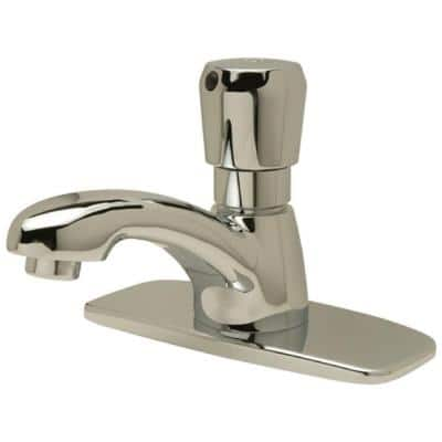 Single-Handle Metering Utility Faucet with 4 in. Cover Plate in Chrome