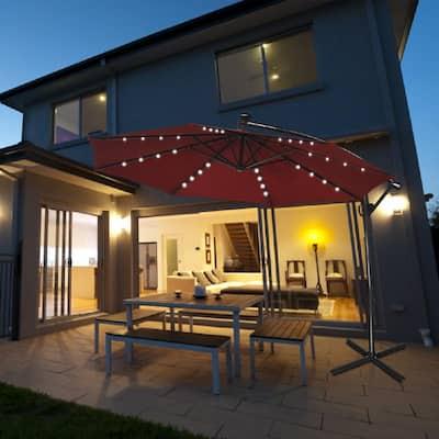 10 ft. Aluminum Offset Cantilever Solar Tilt Patio Umbrella LED Lights 360° Rotation Burgundy