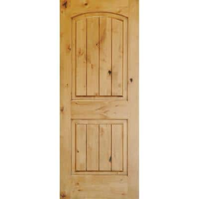 28 in. x 80 in. Rustic Knotty Alder 2-Panel Top Rail Arch V-Groove Unfinished Wood Front Door Slab