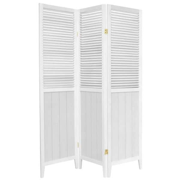 Oriental Furniture 6 Ft White 3 Panel Room Divider Bead Wht 3p The Home Depot