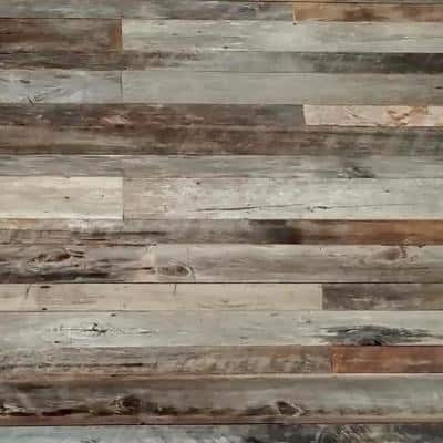 1 in. x 5 in. x 4 ft. Brown and Gray Weathered Barn Wood Shiplap Plank (10 sq. ft/Pack)