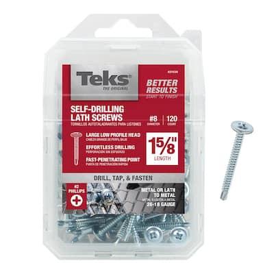 #8 x 1-5/8 in. Zinc-Plated Steel Phillips Truss-Head Lath Screws (120-Pack)