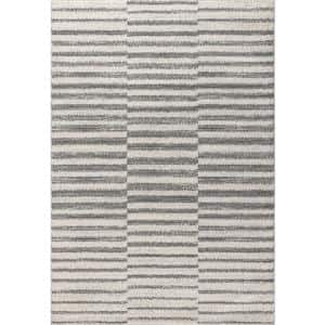 Lyla Offset Stripe Gray/Cream 3 ft. x 5 ft. Area Rug
