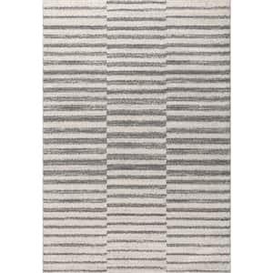 Lyla Offset Stripe Gray/Cream 8 ft. x 10 ft. Area Rug