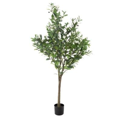 6 ft. Indoor/Outdoor Artificial Olive Tree - Potted Faux Floor Plant with Fruit - Natural Looking Greenery Decoration
