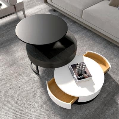 51.9 in. Black Round Storage Top Wood Coffee Table with Storage Lift and Rotatable Drawers