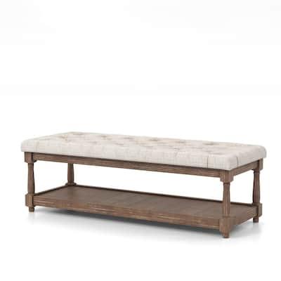Gavinato Beige Tufted Upholstered Bench