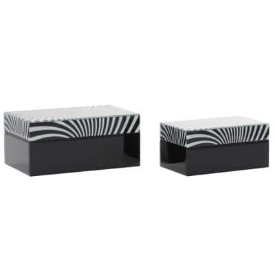 11 in. x 9 in. Black Contemporary Wood Box (Set of 2)