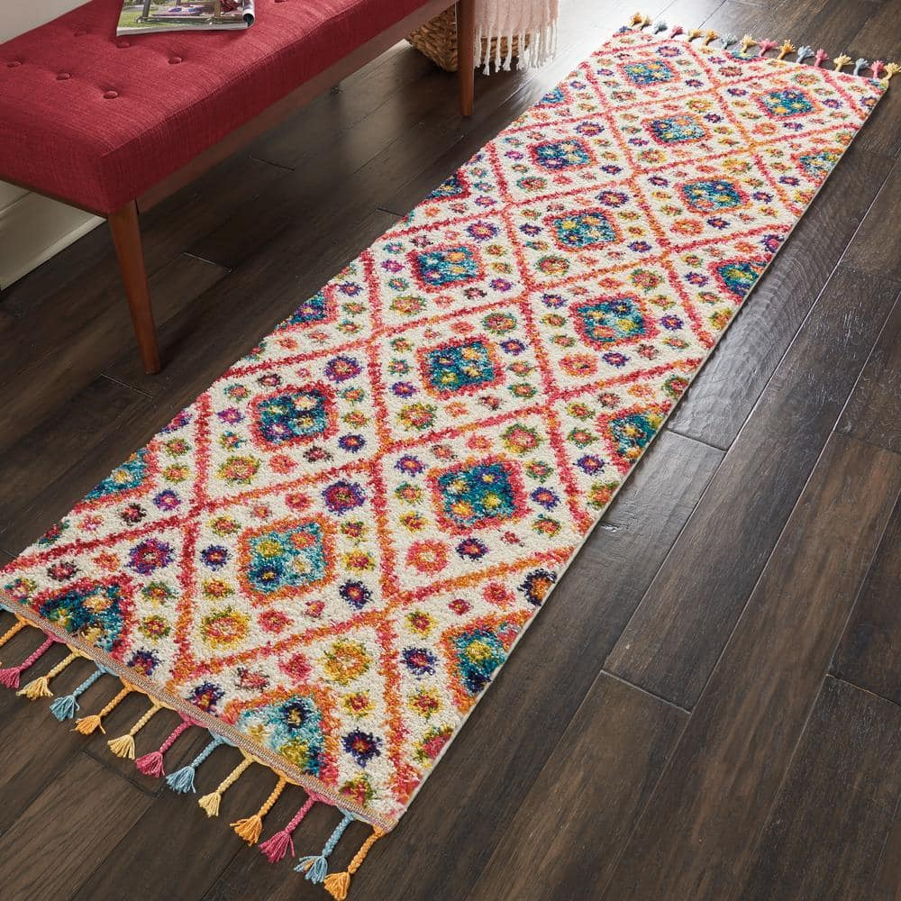 Multicoloured Tribal Area Rug Low PIle Transitional Moroccan Living Room Rugs