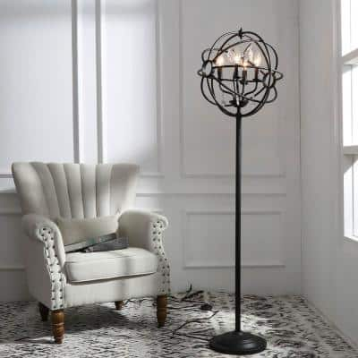61 in. Black Indoor Sphere Shade Floor Lamps with Crystal Drops