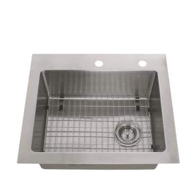 Tight Radius Stainless Steel 25 in. 18-Gauge 2-Hole Single Bowl Dual Mount Kitchen Sink with Grid and Strainer