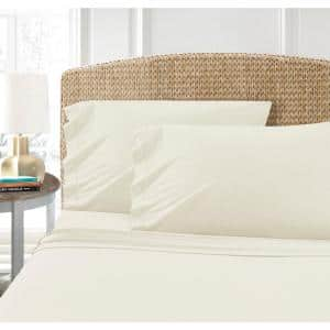 Cotton Blend 4-Piece Queen T-Shirt Jersey Sheet Set, Ivory