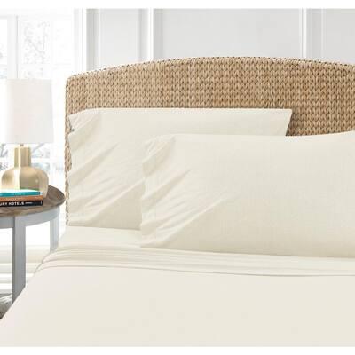Cotton Blend Ivory T-Shirt Jersey Sheet 2PK Pillowcase Set