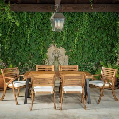 Scarlet 7-Piece Acacia Wood Rectangular Outdoor Dining Set with Cream Cushions