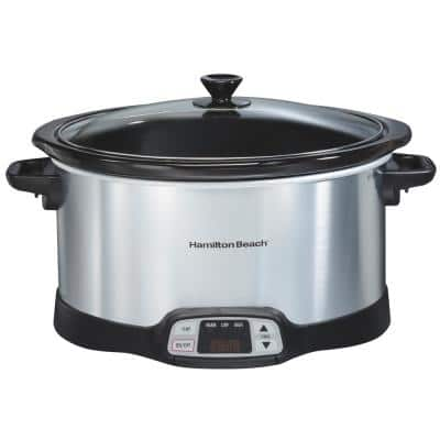 8 Qt. Programmable Stainless Steel Slow Cooker with Built-In Timer and Temperature Settings