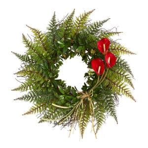 23 in. Assorted Fern and Red Calla Lily Artificial Wreath