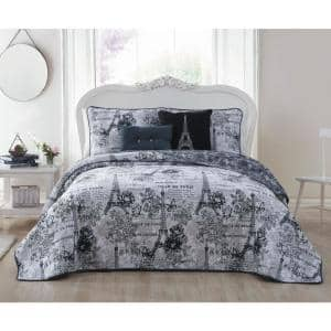 Amour 4-Piece Black/White Twin Quilt Set