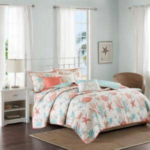 Pacific Grove 6-Piece Coral Full/Queen Cotton Sateen Reversible Coverlet Set