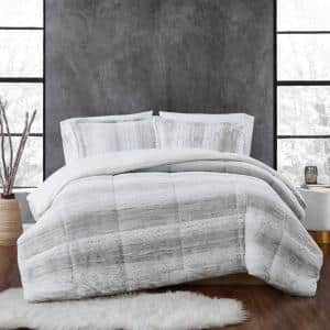 Snow Leopard 3-Piece Grey Faux Fur Full/Queen Comforter Set
