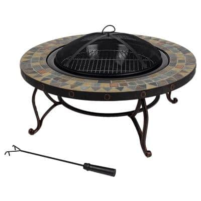 Juniper Slate Top 34 in. W x 19.6 in. H Round Steel Wood Burning Rubbed Bronze Fire Pit