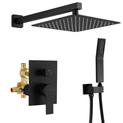 1-Spray Patterns with 2.66 GPM 10 in. Wall Mount Dual Shower Heads with Rough-In Valve Body and Trim in Matte Black