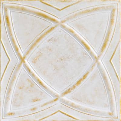 Elliptic Illusion 1.6 ft. x 1.6 ft. Glue Up Foam Ceiling Tile in White Washed Gold