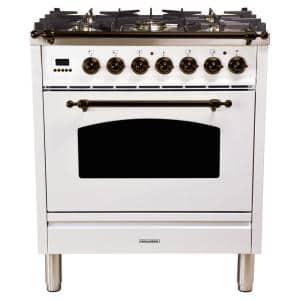 30 in. 3.0 cu. ft. Single Oven Italian Gas Range with True Convection, 5 Burners, Bronze Trim in White