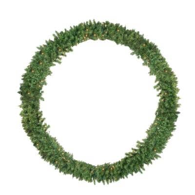 72 in. Pre-Lit Buffalo Fir Commercial Artificial Christmas Wreath with Clear Lights